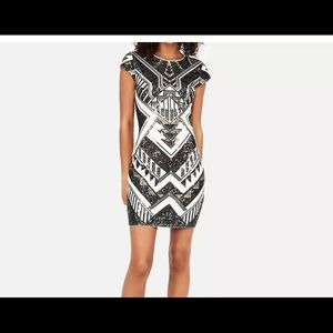 EXPRESS AZTEC DECO  GOLD SEQUINS PARTY DRESS